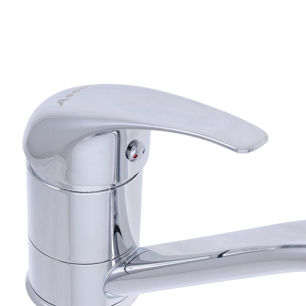 Смеситель для кухни, короткий излив, керамический картридж 40 мм, хром, без подводки, Ascot 201