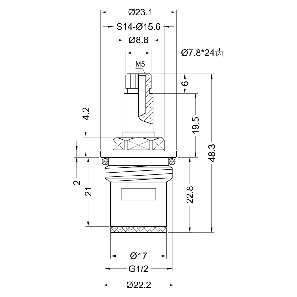 "Кран-букса для смесителя 1/2"", 24шл., шток 8х6мм, 90°, металлокерамика"