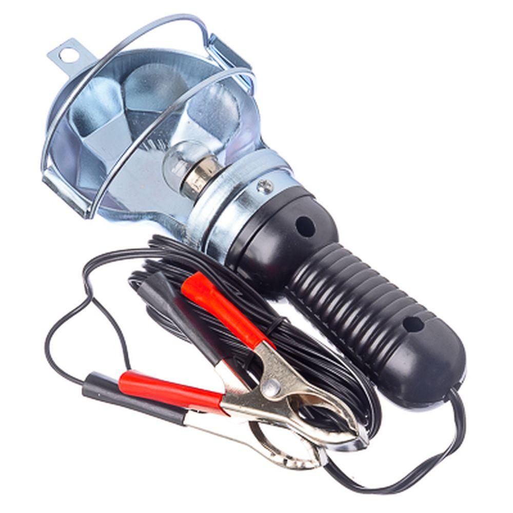 Лампа переносная металл 12v 15-6044A (CJJ310) (110), с зажимами пит. от АКБ и от прикур. 12V.