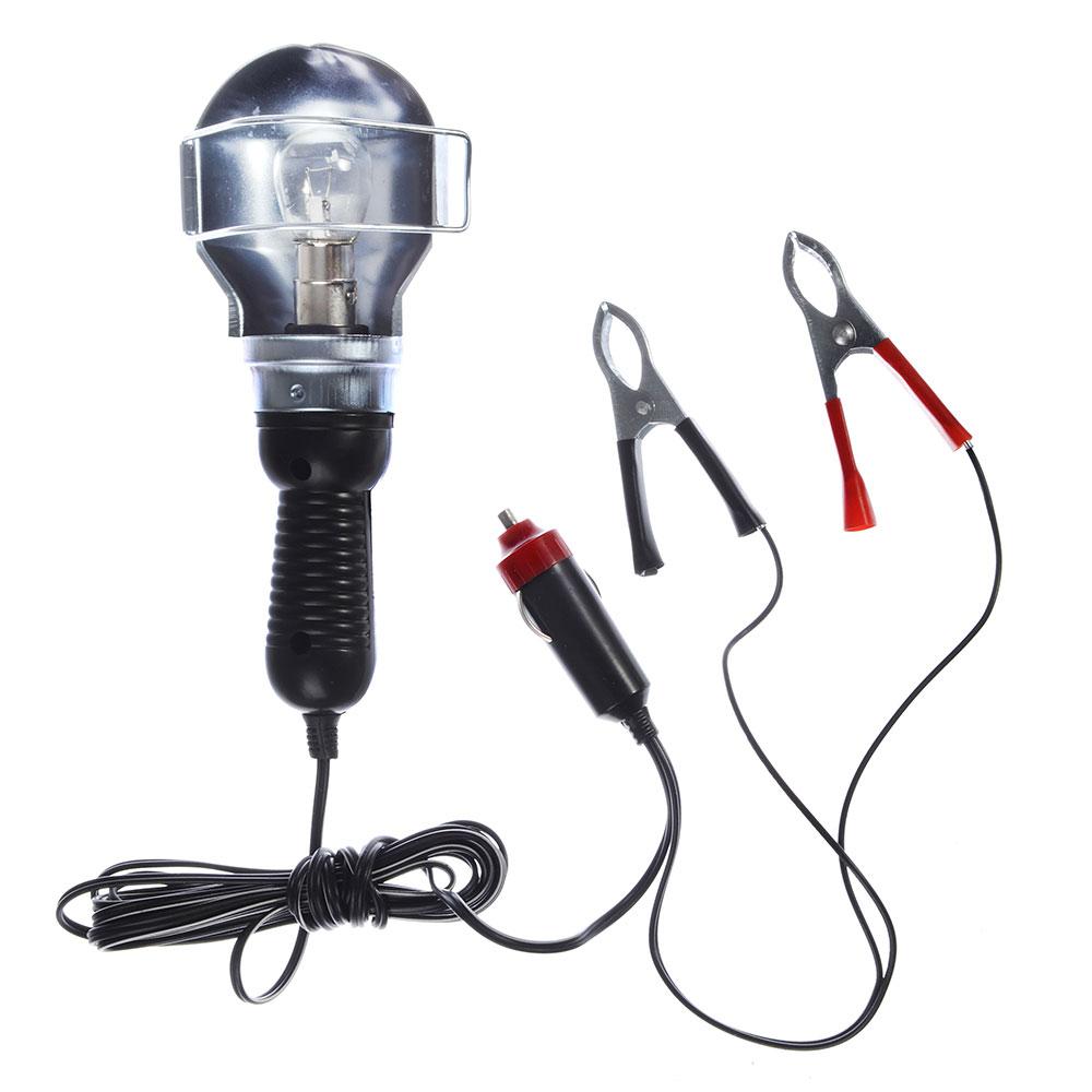 Лампа переносная металл 12v 15-6044B (CJJ310) (109), пит. от АКБ и от прикур. 12V.