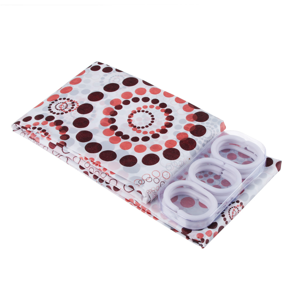 "VETTA Шторка для ванной, ПЕВА, 180x180см, ""Круги на воде"", 3 цвета"