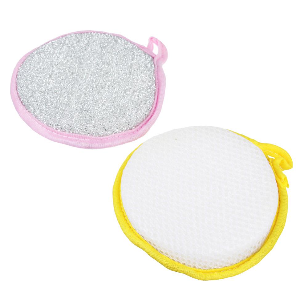 Губка для посуды, поролон, d 12 см, 2 цвета, VETTA