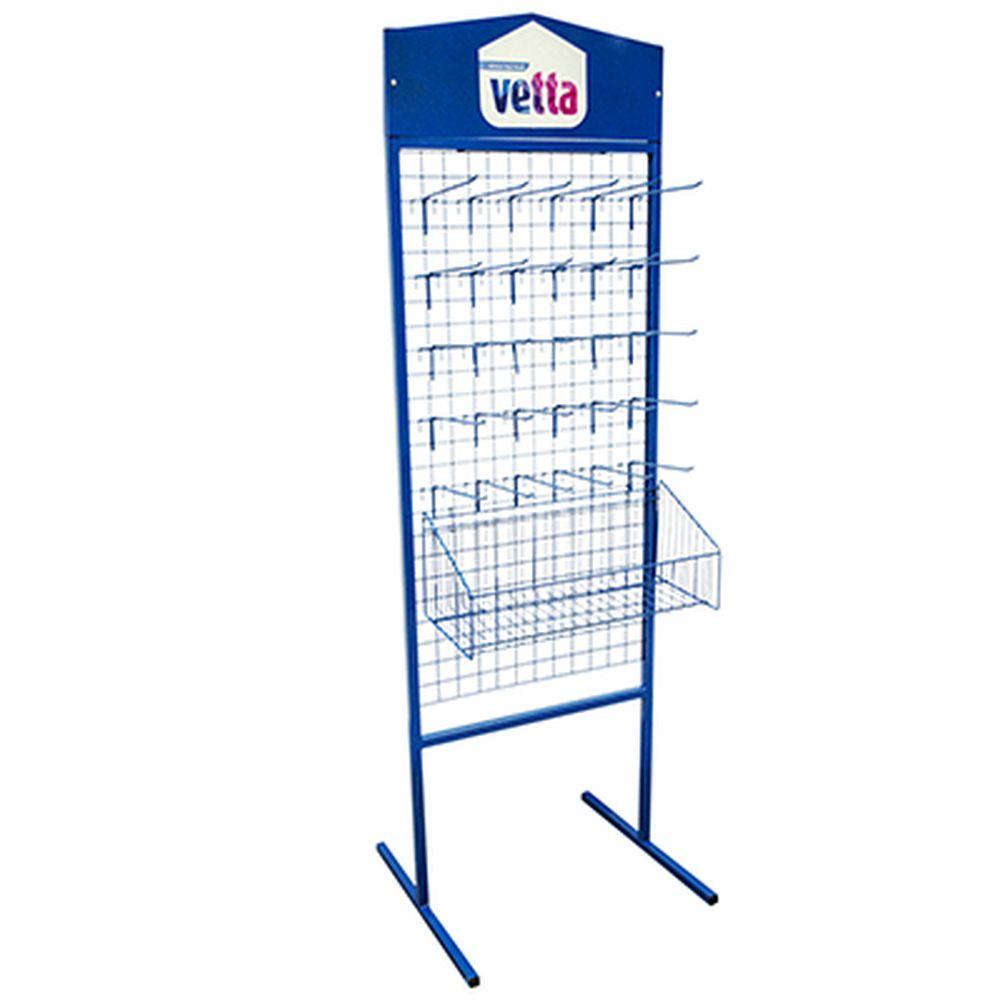 VETTA Стенд выставочный П (в комплектации 30 крючков и корзина) синий