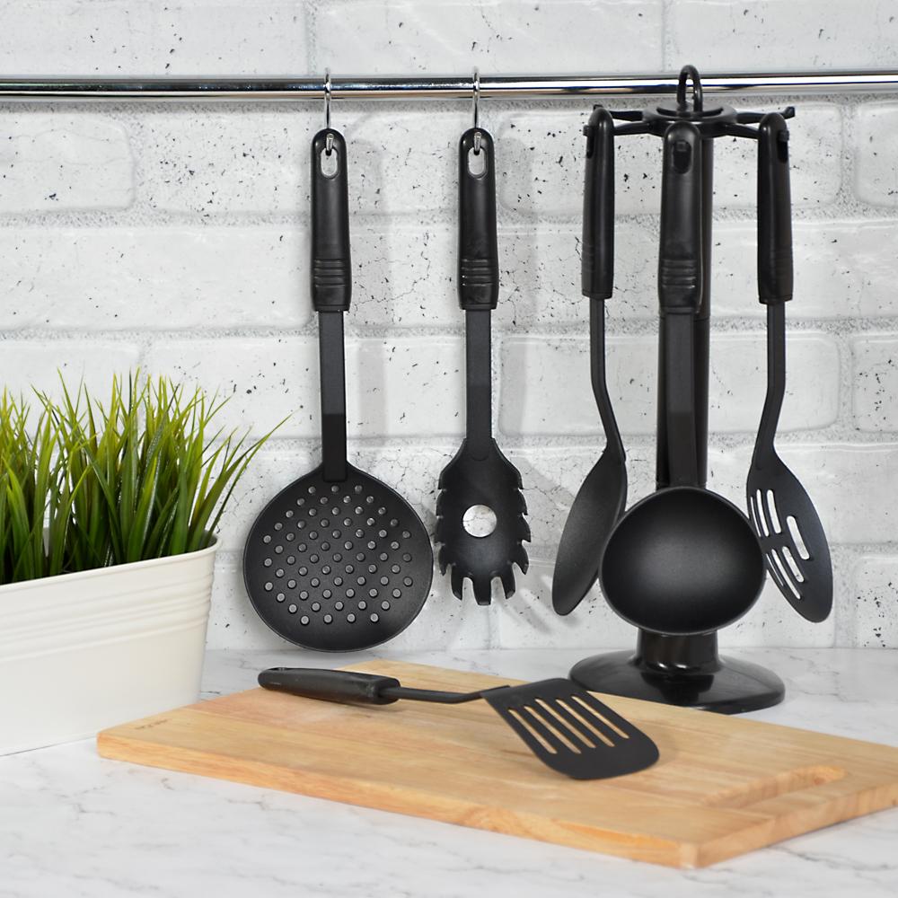 Набор кухонных принадлежностей 6 предметов, жаропрочный нейлон, Блэк