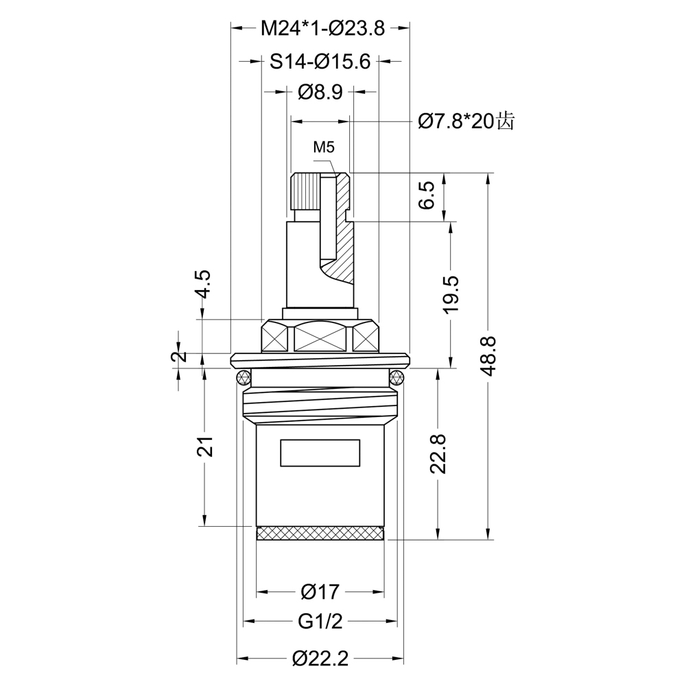 "Кран-букса для смесителя 1/2"", 20шл., шток 8х7мм, 180°, металлокерамика"
