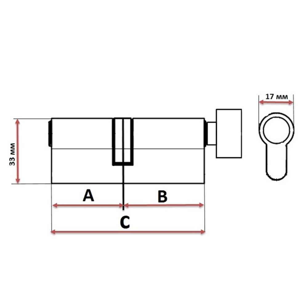 Сердцевина замка/ Цилиндровый механизм (алюминий/латунь) 60мм(30+30), кл-верт, 5кл (англ), хром
