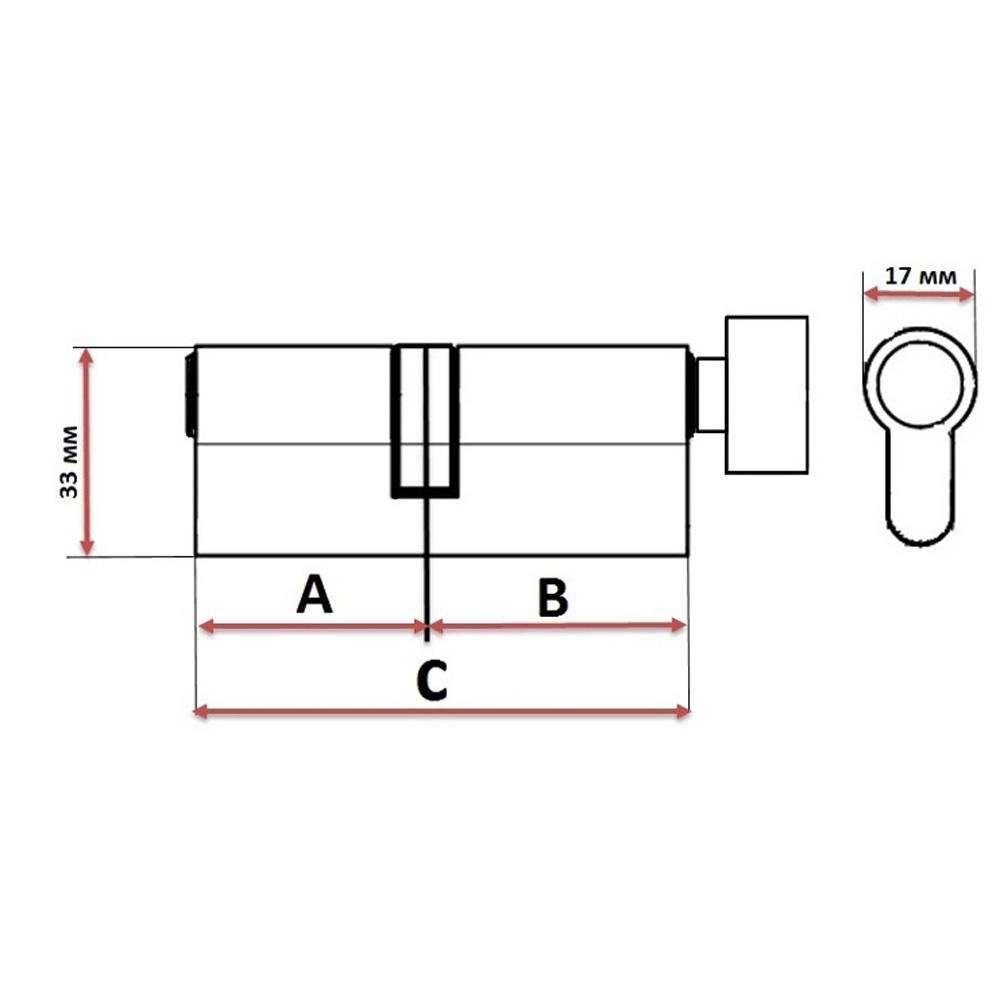 Сердцевина замка/ Цилиндровый механизм (алюминий/латунь) 60мм(30+30), кл-верт, 6кл (англ), хром