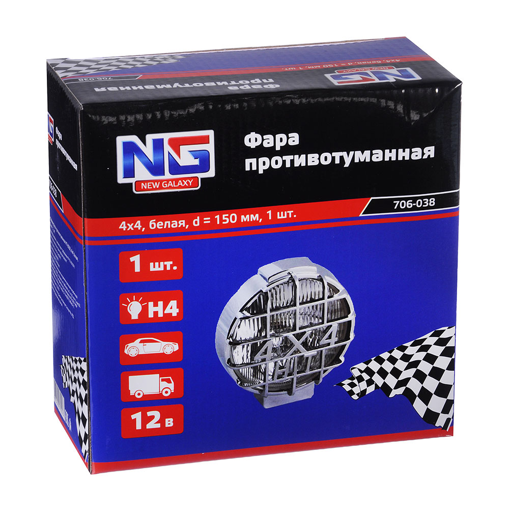 NEW GALAXY Фара противотуманная HT-8038, 4x4, белая, d150мм, 1 шт