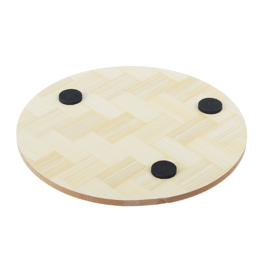 Подставка под горячее бамбук 14x14см; d14см, 6 дизайнов, LC996B