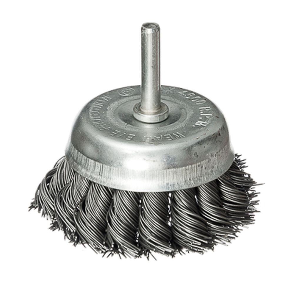 FALCO Щетка металл. со шпилькой для дрели 65мм, крученая (чашка)