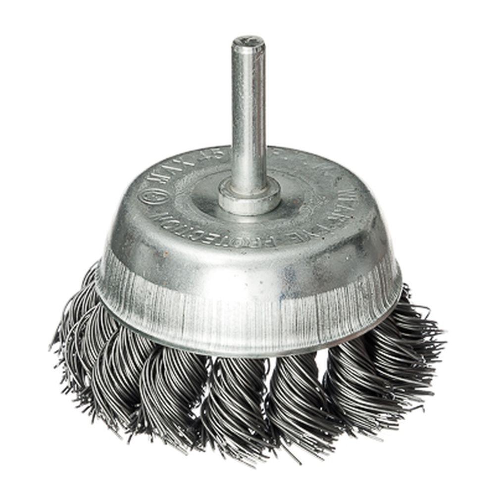 FALCO Щетка металл. со шпилькой для дрели 75мм, крученая (чашка)