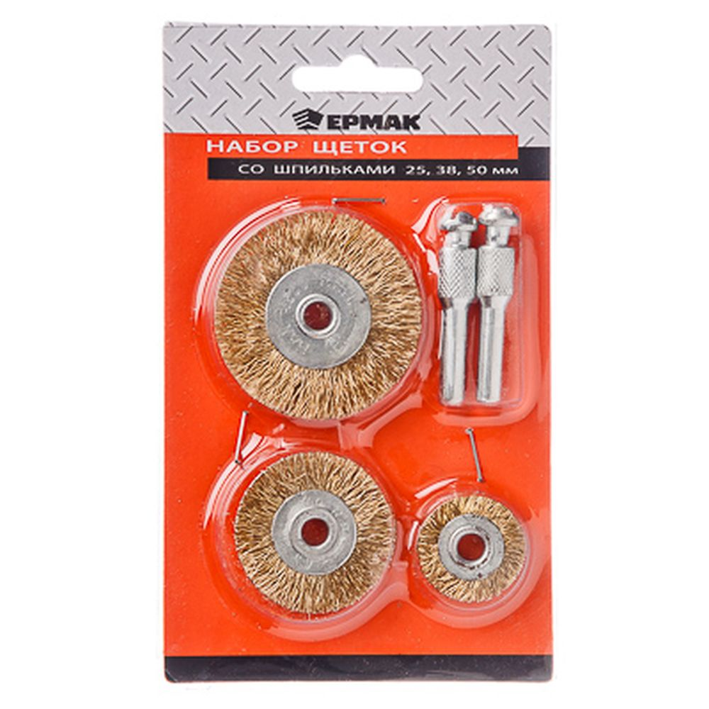 ЕРМАК Набор щеток металл со шпильками 3 пр (25,38,50мм -плоские)