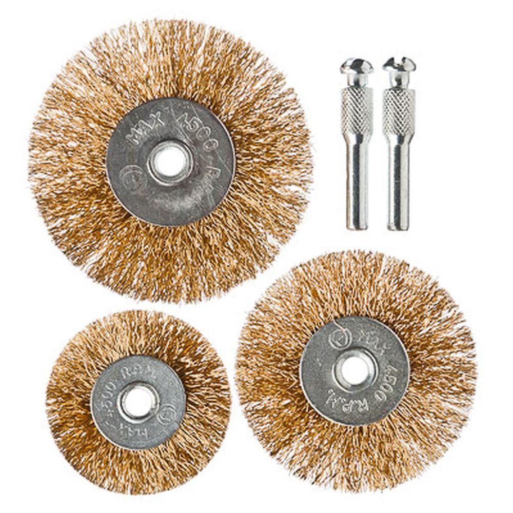ЕРМАК Набор щеток металл со шпильками 3 пр (50,63,75мм -плоские)