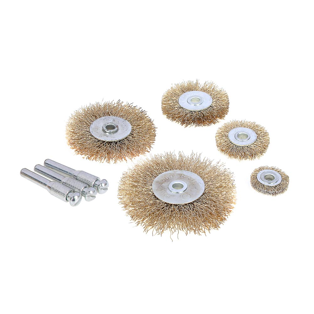 ЕРМАК Набор щеток металл со шпильками 5 пр (25,38,50,63,75мм -плоские)