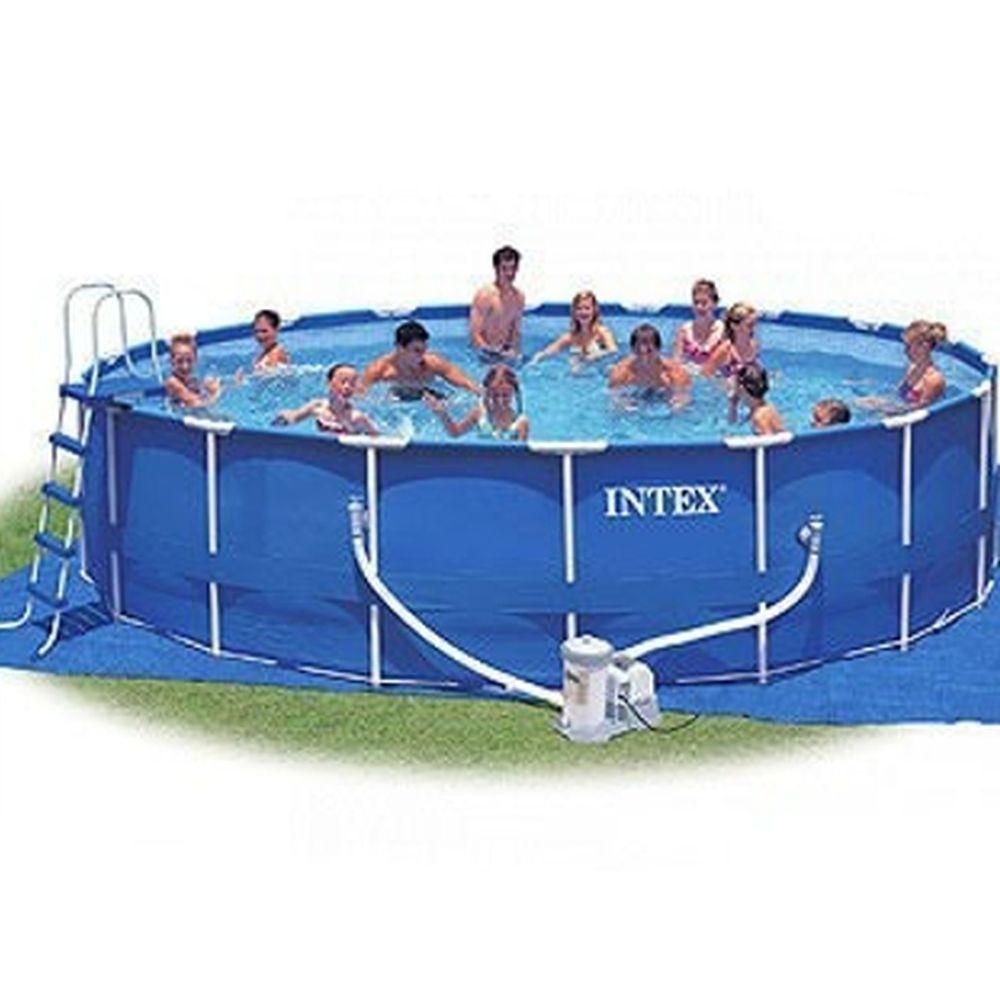 INTEX Бассейн каркас. 732*132см, насос, с-ма мор.воды, лест, тент, еж.ух,  очист, вол.сетка 54450