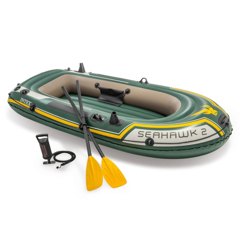 Лодка надувная, 3 камеры, весла, насос, рем.комплект, 236х114х41 см, до 200 кг, INTEX Seahawk 2, 683