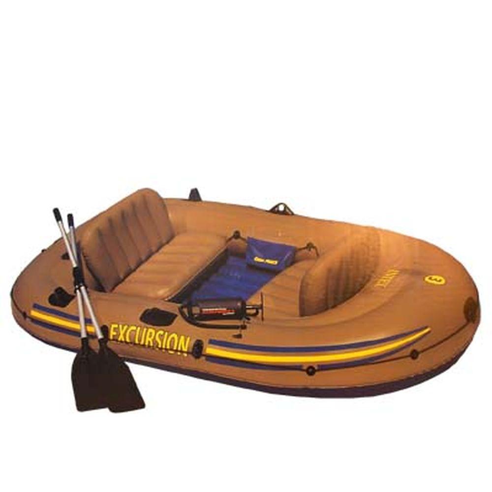 INTEX Лодка Excursion 3 Set (300кг) 3 камеры, 2 подушки, весла, насос, 262x157x42см, 68319