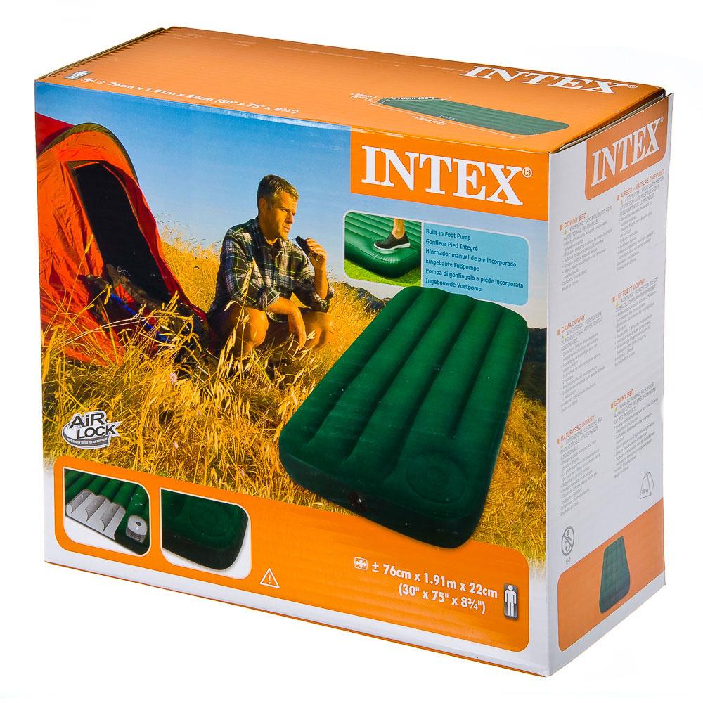 """Кровать флок со встроенным насосом, 76х191х22 см, зеленый, INTEX """"Downy"""", 66950"""