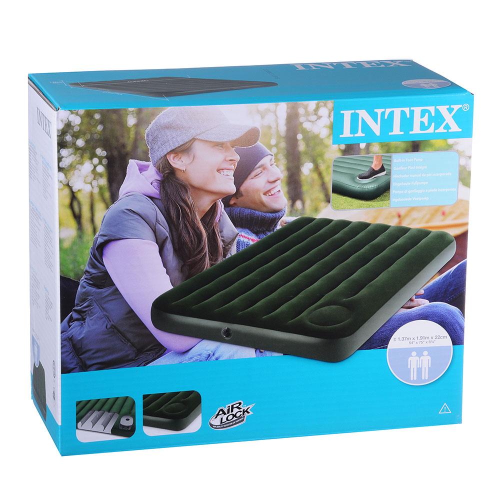 """Кровать флок со встроенным насосом, 137х191х22 см, зеленый, INTEX """"Downy"""", 66928"""