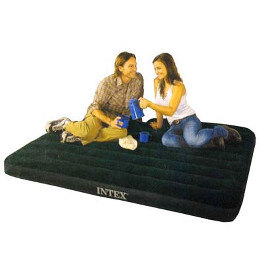 """Кровать флок со встроенным насосом, 152х203х22 см, зеленый, INTEX """"Downy"""", 66929"""