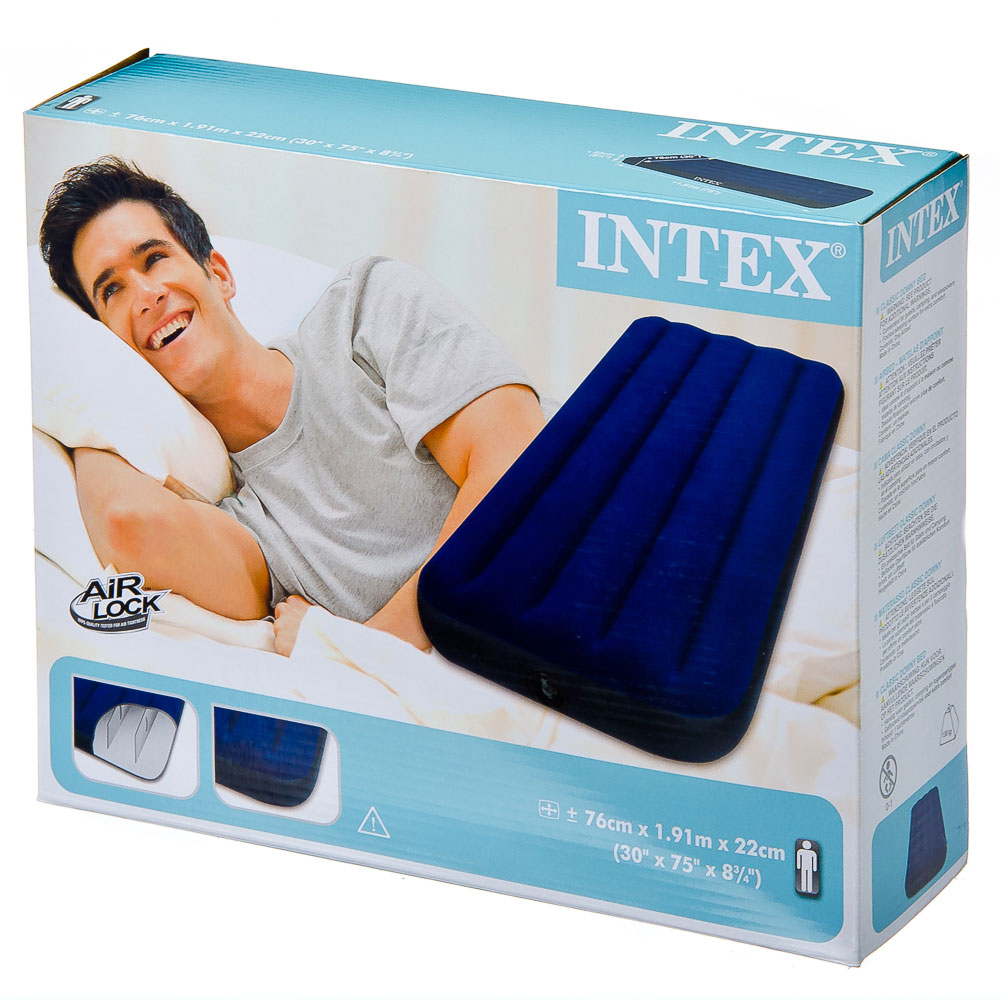 """Кровать флок, 76х191х22 см, синий, INTEX """"Classic Downy"""", 68950"""