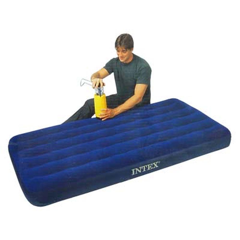 """Кровать флок, 99х191х22 см, синий, INTEX """"Classic Downy"""", 68757"""