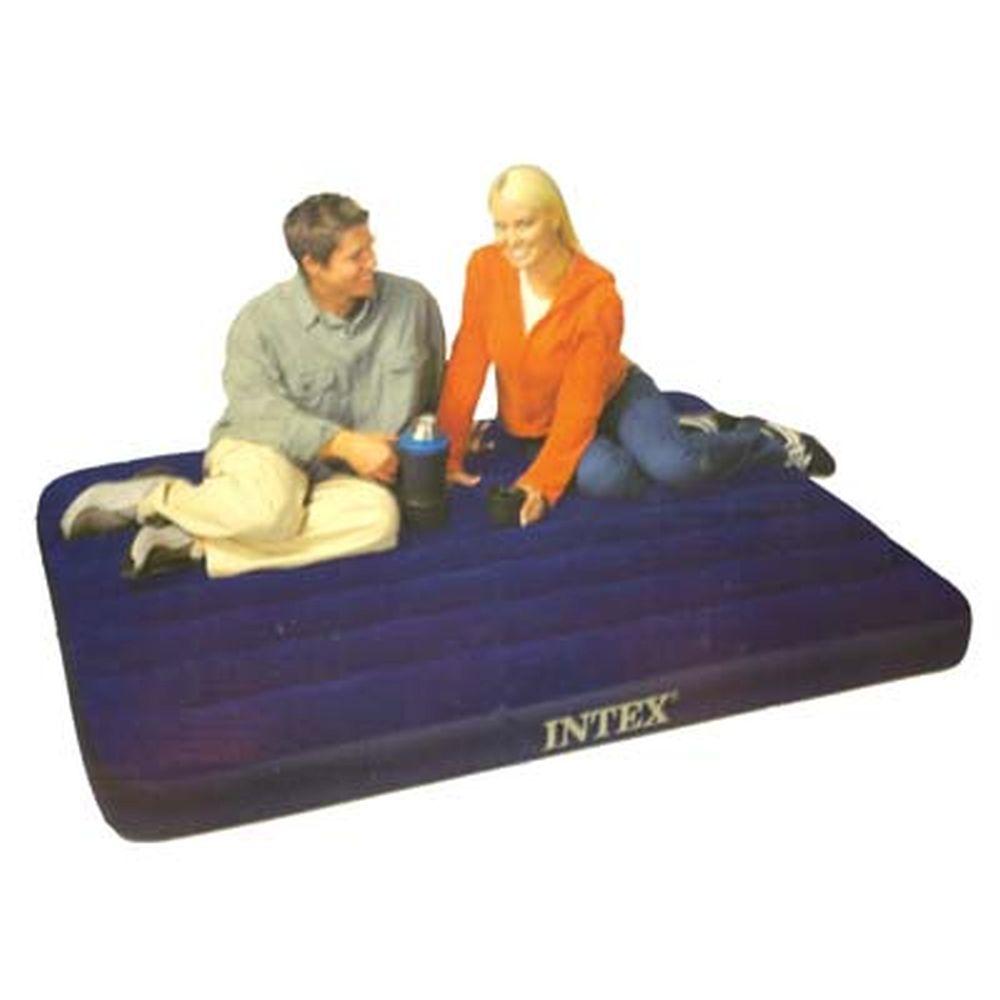 """Кровать флок, 137х191х22 см, синий, INTEX """"Classic Downy"""", 68758"""