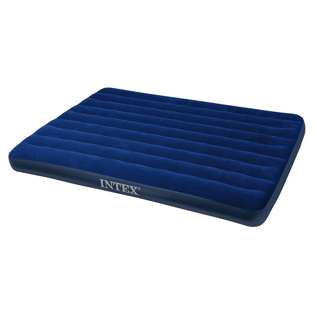 """Кровать флок, 152х203х22 см, синий, INTEX """"Classic Downy"""", 68759"""