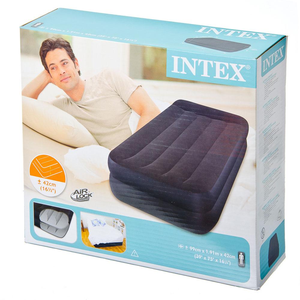 INTEX Кровать надувная Pillow Rest Raised с подголовником, 99x191x42см, синий 66721