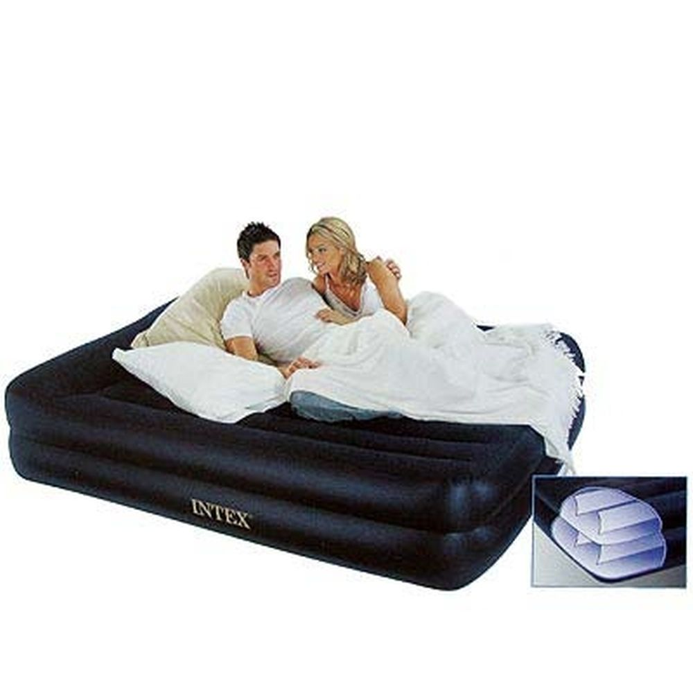 INTEX Кровать надувная Pillow Rest Raised с подголовником, 152x203x42см, синий 66720