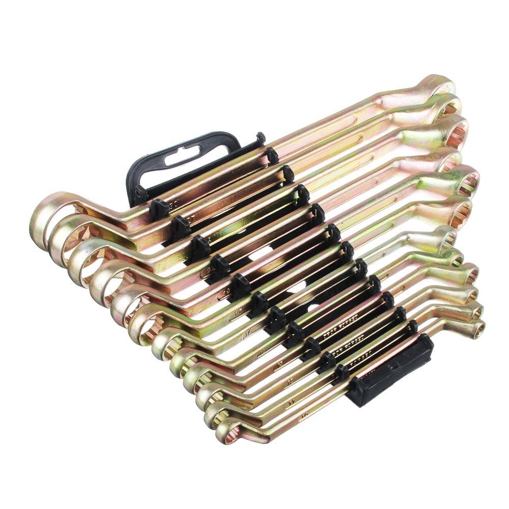 ЕРМАК Набор ключей накидных, 12 предм., 8x10 - 30x32мм, желтый цинк, пластик холдер