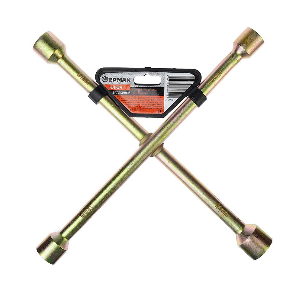 "ЕРМАК Ключ баллонный крестовой, 17-19-21-23 мм, 14"", желтый цинк, SZ002Z"
