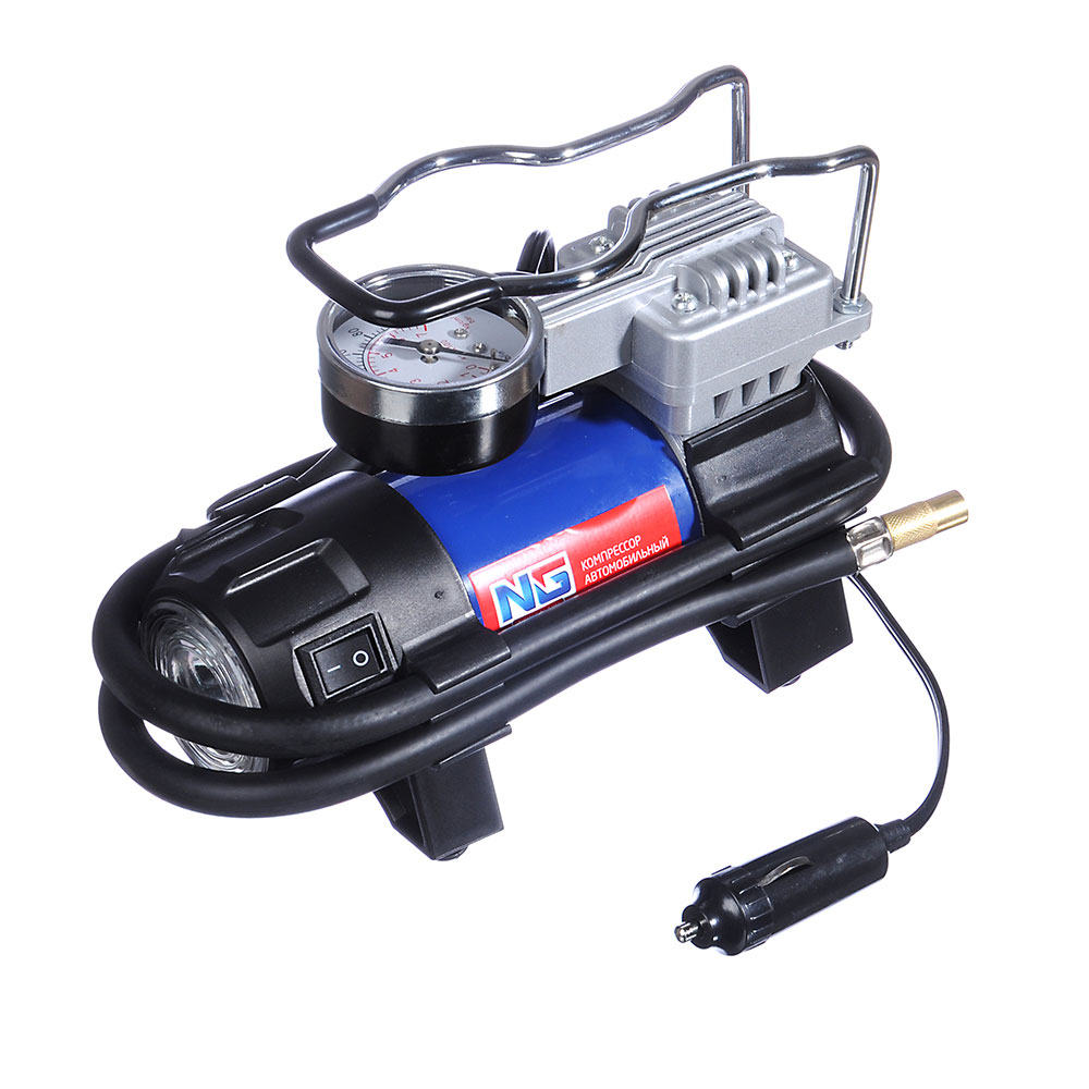 NEW GALAXY Компрессор автомобильный, штекер прикур, LED фонарь, в сумке, 12V, 140W, 35 л/мин, металл
