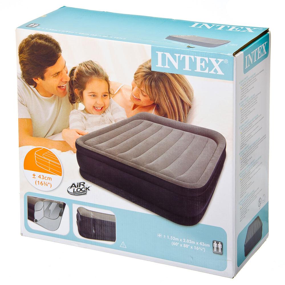 INTEX Кровать надувная Deluxe Pillow Rest Raised с подголовником, 152x203x43см, сумка 67736