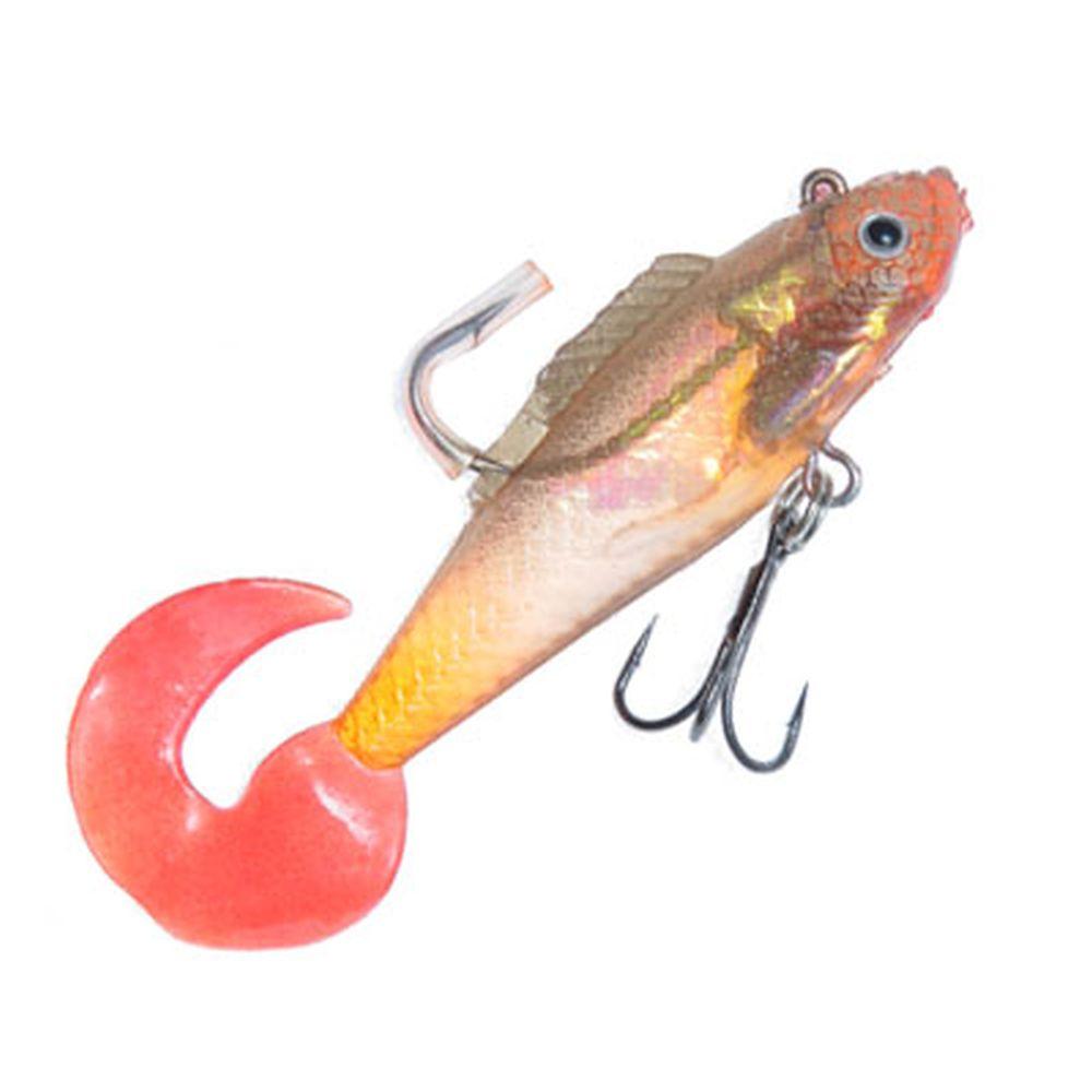 AZOR Мягкая приманка CH-D025 1-07, рыба виброхвост с 3 крючками, 86мм, 10,6гр, 4 шт в уп