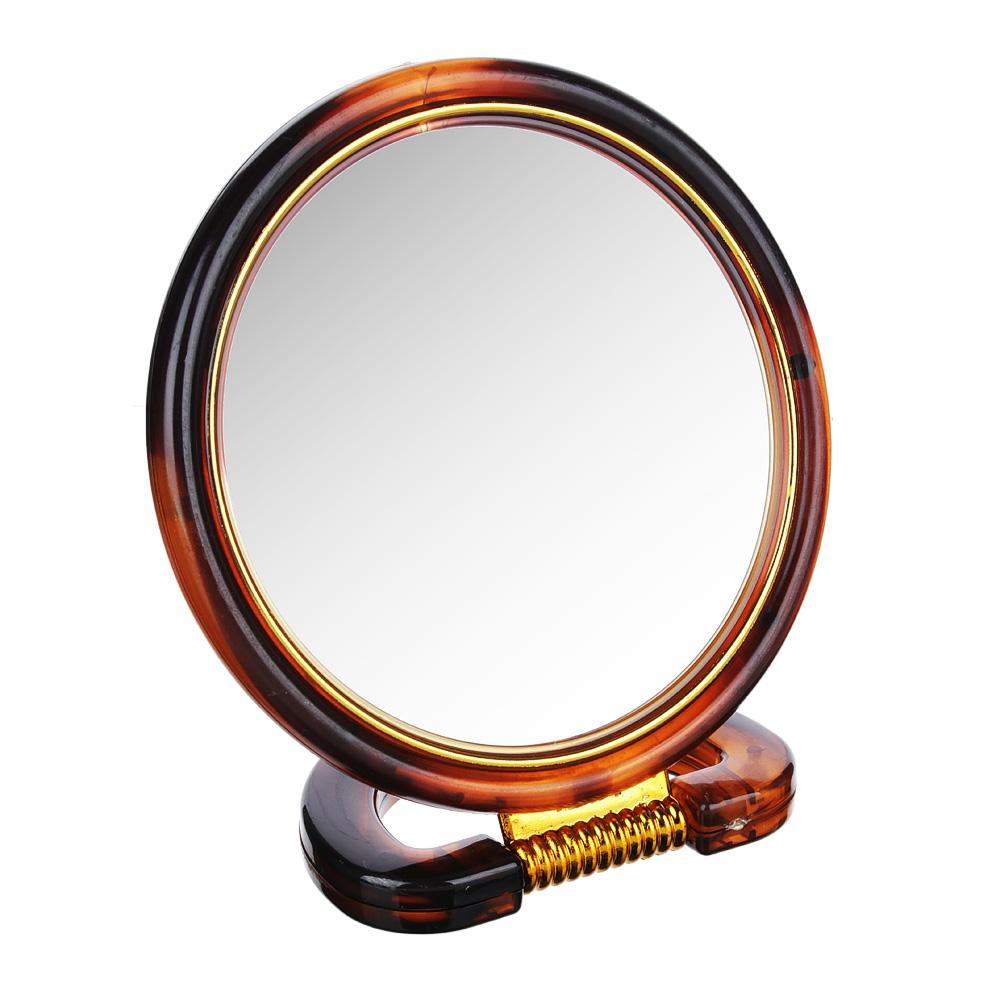 Зеркало настольное круглое, d. 14,5 см, пластик, коричнево-золотое