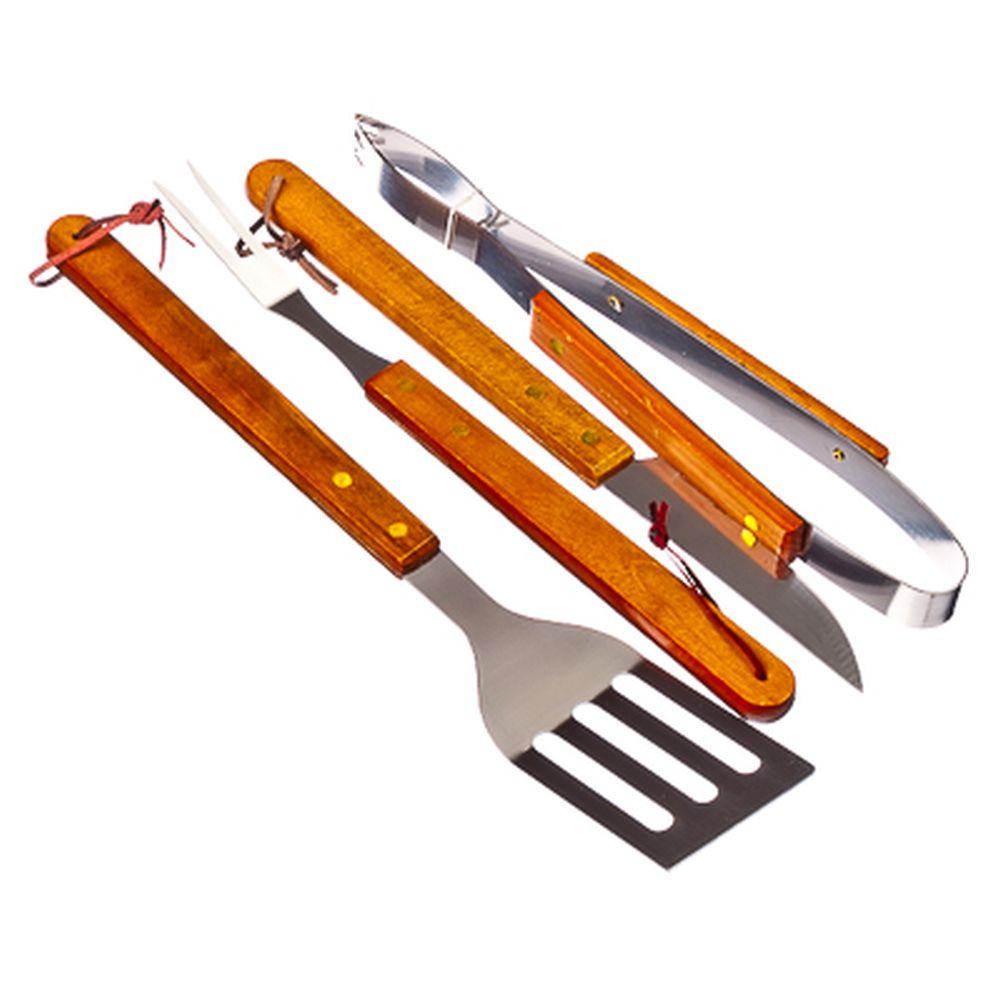 GRILLBOOM Набор для барбекю из 4 предметов (вилка, щипцы, лопатка, нож), дер ручки