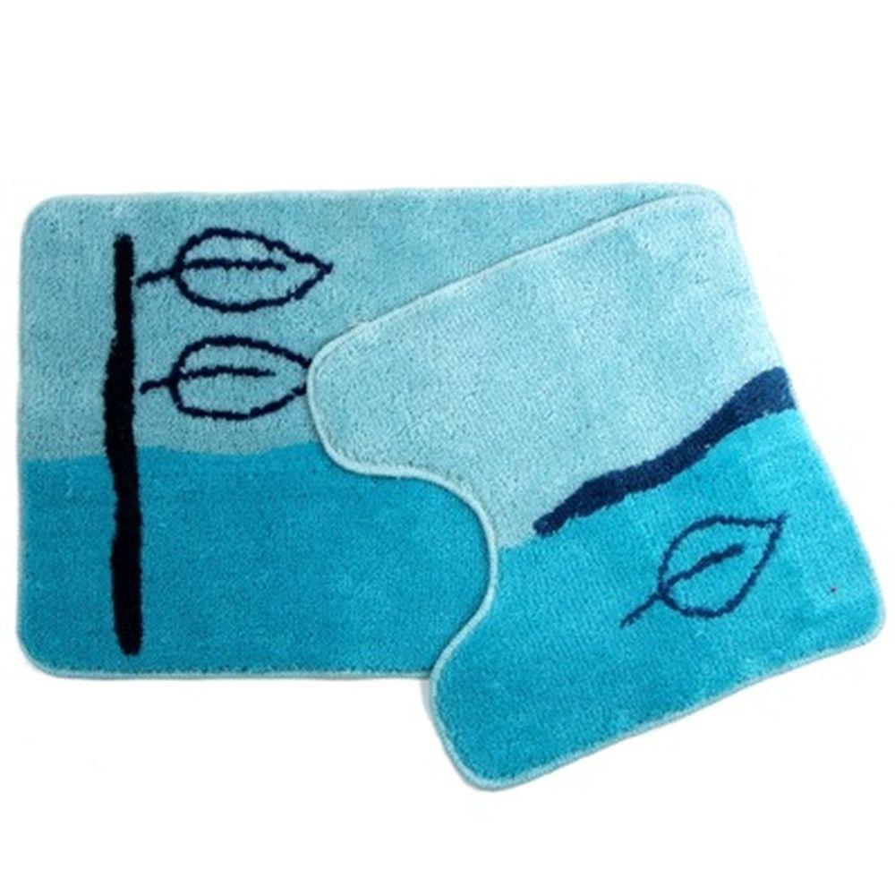 """VETTA Набор ковриков 2шт для ванной и туалета, акрил, 50х80см + 50х50см, """"Листья"""" голубой, SCF07-023"""
