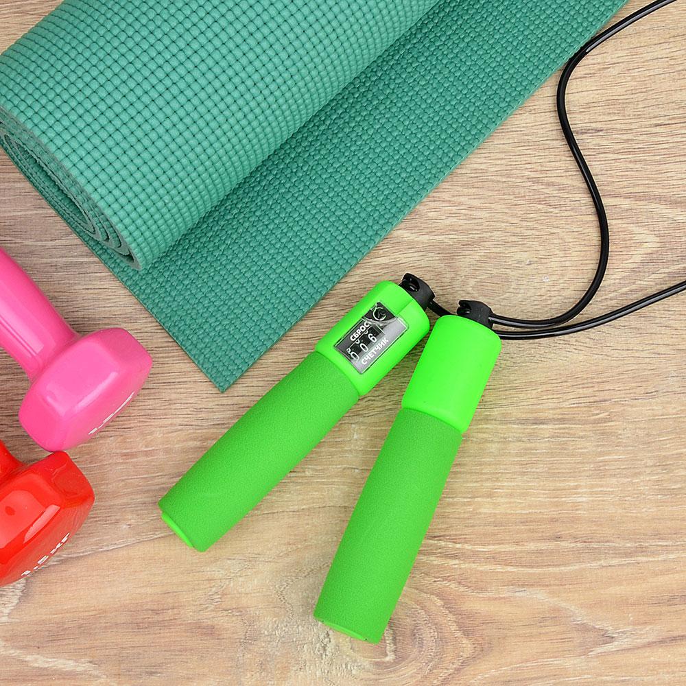 Скакалка со счетчиком, пластик, ПВХ, 2,8 м х 4,2 мм, 4 цвета, SILAPRO