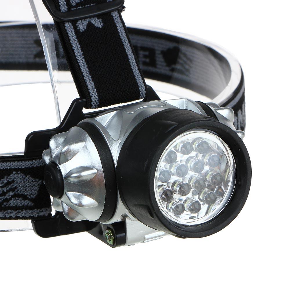 ЧИНГИСХАН Фонарь налобный 14 ярк. LED, 3xAAA, 6х4,2 см