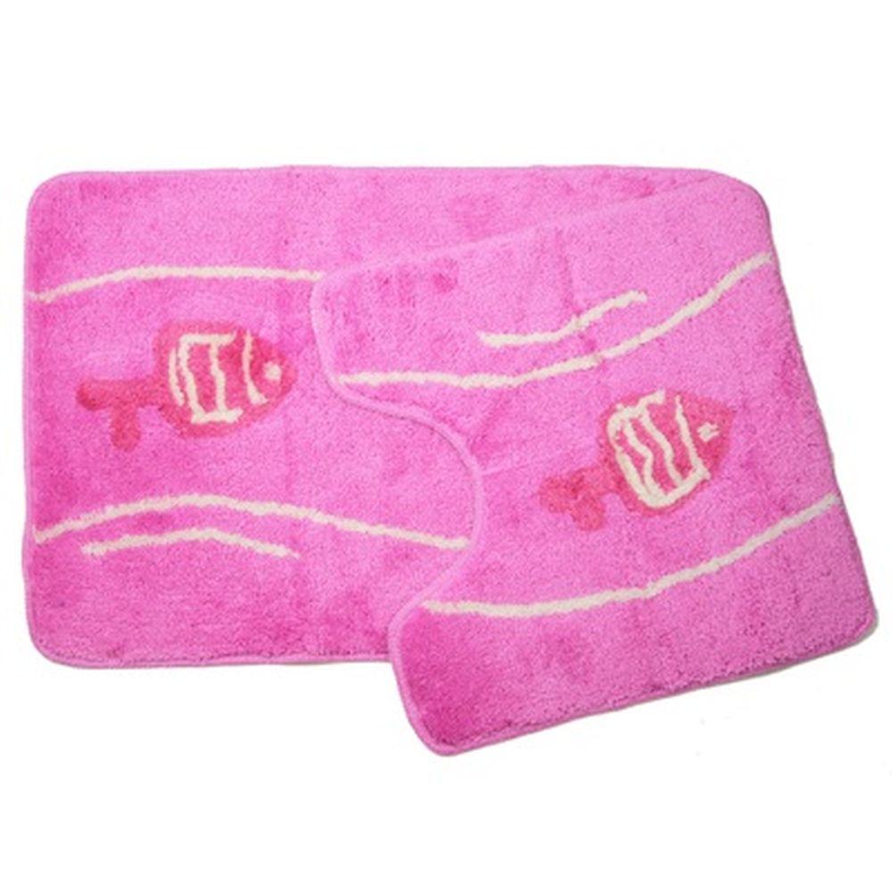 """VETTA Набор ковриков 2шт для ванной и туалета, акрил, 50х80см + 50х50см, """"Рыбы"""", розовый, S206BM"""