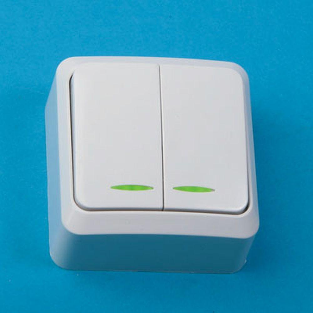 Выключатель двойной с подсветкой, основание пластик, 10А 250В Fazenda 7123 PowerMan