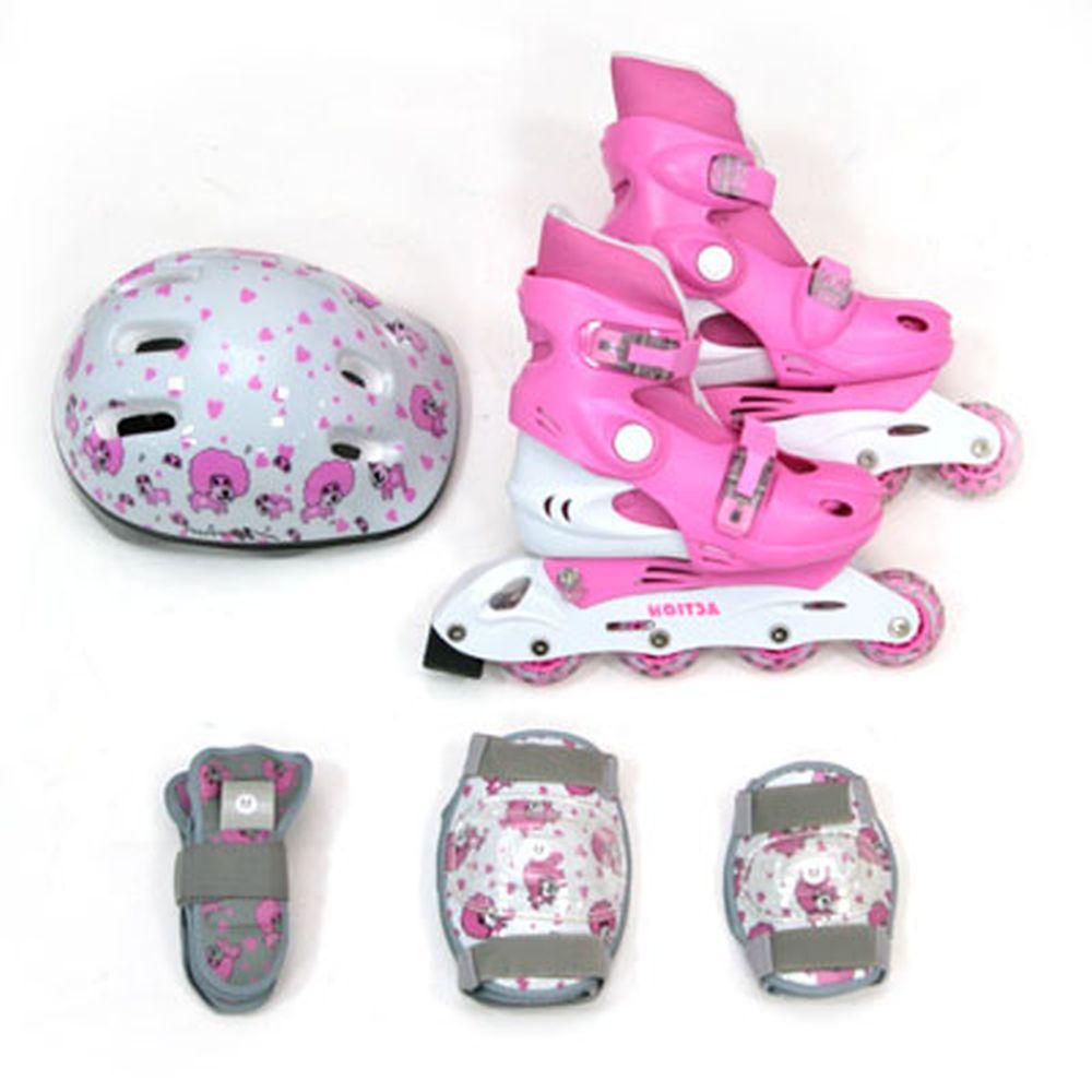 Action Коньки роликовые дет. с набором защиты (шлем, колени, локти, запяс) р.S(30-33), PW-129C, роз
