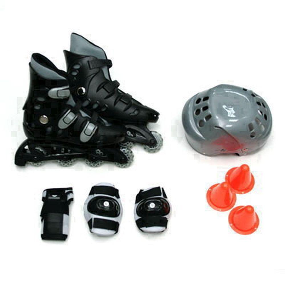 Action Коньки роликовые с набором защиты (шлем, колени, локти) р.42, PW-127, черно-серый
