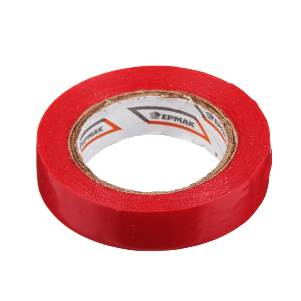 Изолента, ПВХ, в/с, красная, шир. 15+-2 мм, 7,5 м, толщ 0,2 мм, ЕРМАК