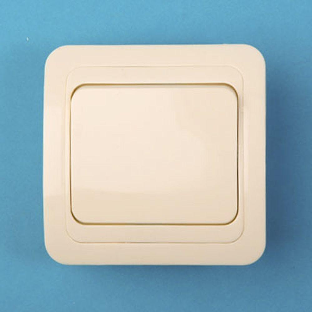 Выключатель одноклавишный, основание керамика, 10А 250В Classic 2021 (крем) PowerMan