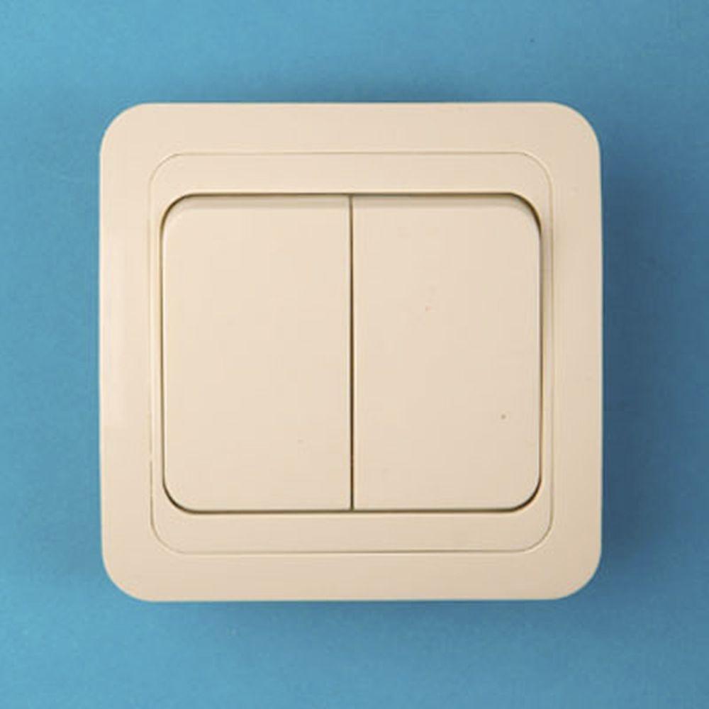 Выключатель двухклавишный, основание керамика, 10А 250В Classic 2023 (крем) PowerMan