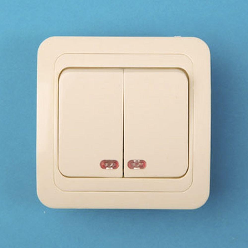 Выключатель двухклавишный, основание керамика, с подсветкой 10А 250В Classic 2123 (крем) PowerMan