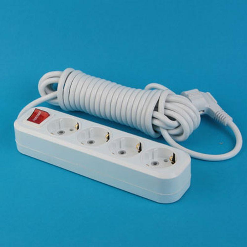 Удлинитель У10-8028F-4  4 гнезда, 5 м, с заземл., выкл., ПВС, сечение 1мм 10А 250В PowerMan