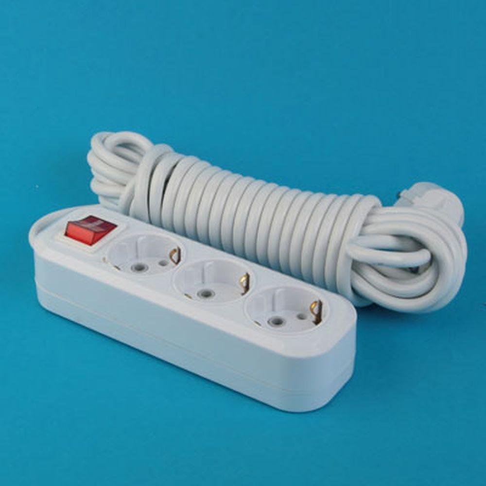 Удлинитель У10-8028F-3  3 гнезда, 3 м, с заземл., выкл., ПВС, сечение 1мм 10А 250В, 6003210 PowerMan